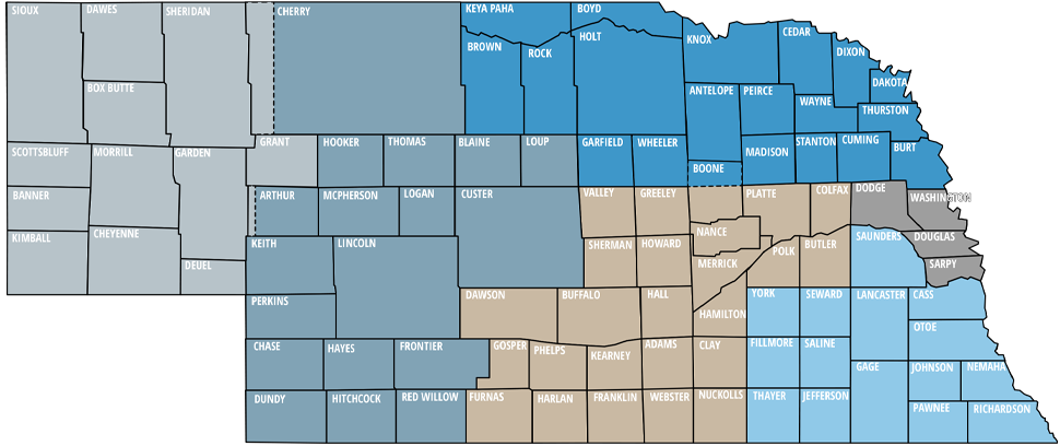 Map of The Community Colleges of Nebraska